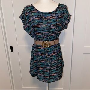 AQUA 100% Silk Dress w/ high neck & short sleeves